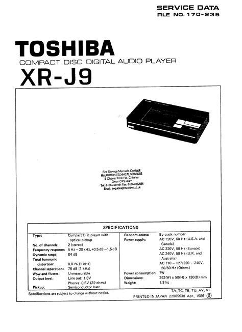 Toshiba Xrj9 Service Manual Immediate Download