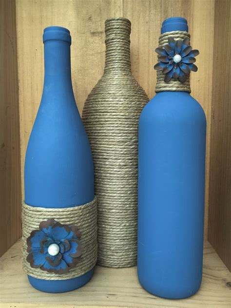 blue colored wine denim blue colored wine bottle with twine and painted