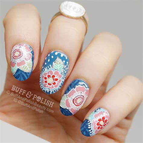Moyou Nail St Pro Plate 03 fling pretty floral petals for moyou buff