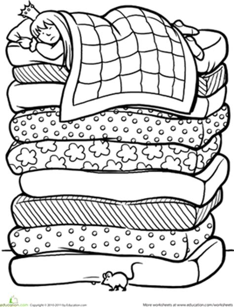 color the princess and the pea worksheet education com