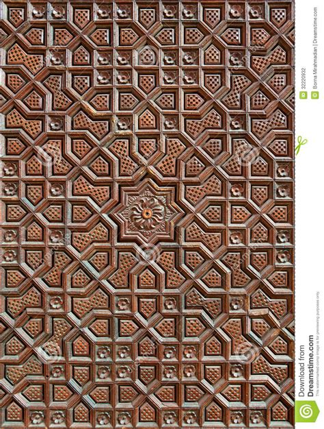 islamic woodwork carved islamic motif on the wooden surface stock photo
