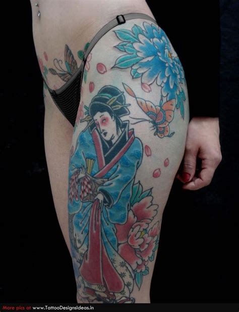 blue geisha tattoo blue ink geisha on left leg