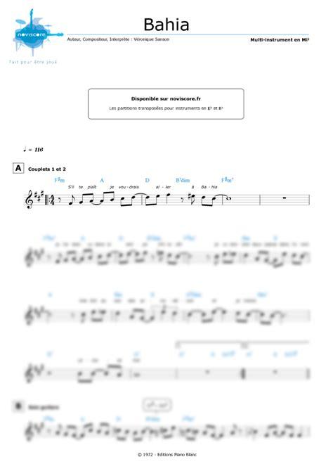tutorial piano veronique sanson partition bahia v 233 ronique sanson partition facile