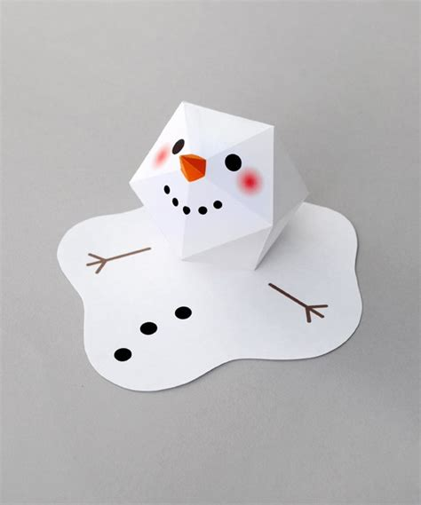 Paper Snowman Craft - project and freebie melting snowman card sting
