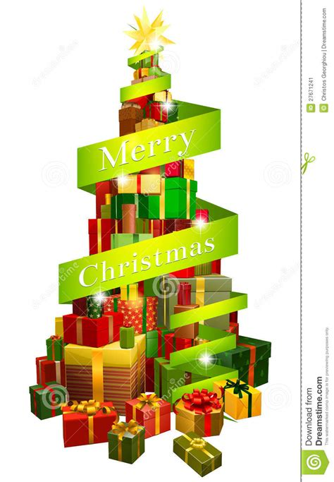 gifts tree with merry christmas ribbon stock vector