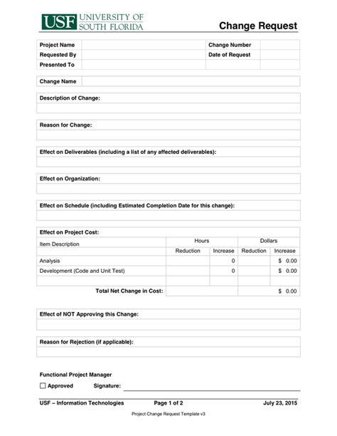 change page template project change request template in word and pdf formats