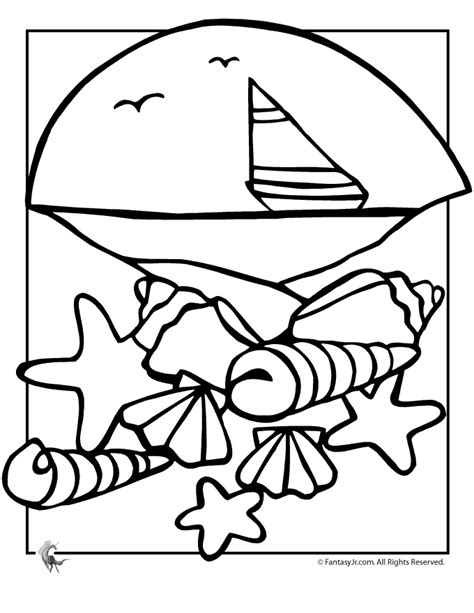 shells starfish coloring pages