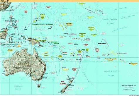 map of south pacific map of oceania and australia