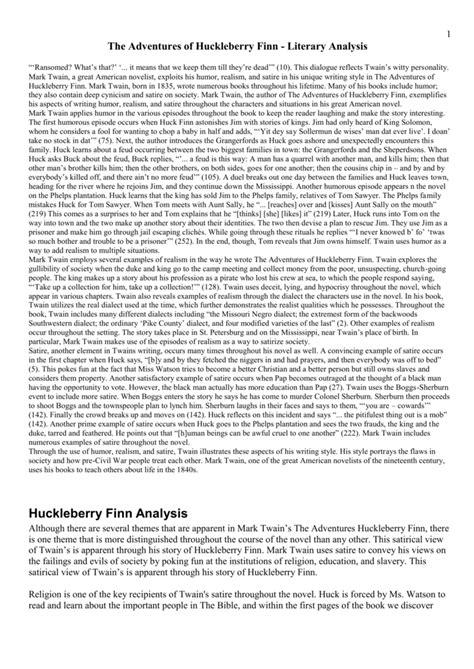 Huck Finn Essay Topics by Research Paper Topics Huck Finn