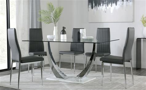 glass and chrome dining table peake glass and chrome dining table white gloss base
