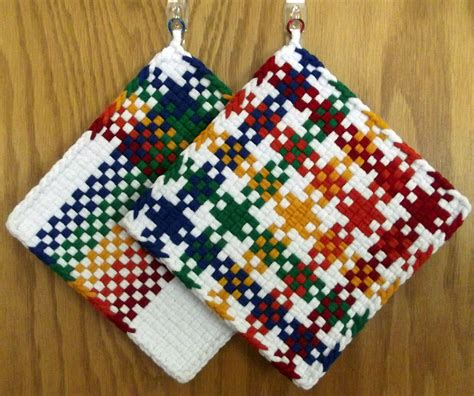 Handmade Potholders - pair of large handmade woven potholders hotpads in