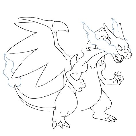 charizard template mega charizard x lineart by ztak1227 on deviantart