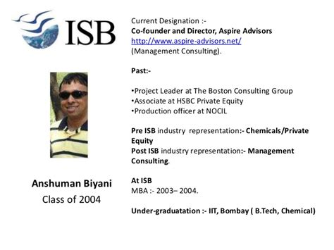 Isb Mba Class Profile by Career Profiles Of Alumni Attending Mumbai Session