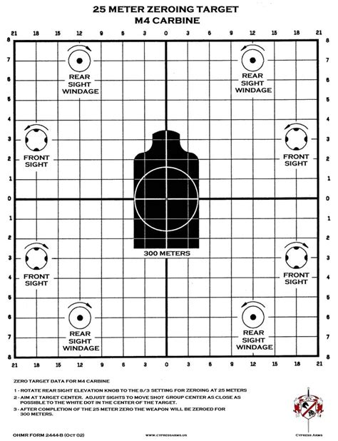 printable targets for iron sights m4 zeroing target printable 223 556 pinterest target