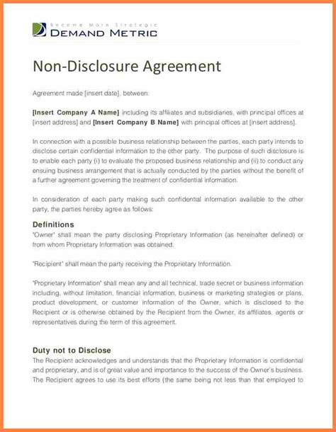 8 Unilateral Non Disclosure Agreement Template Purchase Agreement Group Unilateral Nda Template