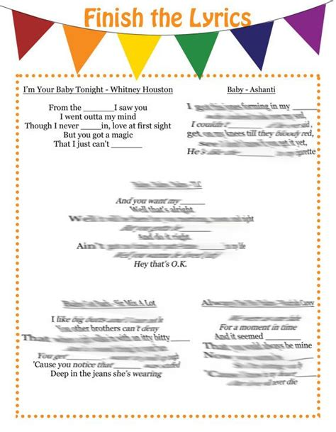 Songs With Baby In The Title Baby Shower by R B And Hip Hop Finish The Lyrics Baby Shower Songs