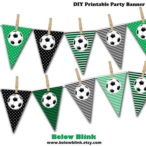 printable birthday soccer banner soccer ball banner soccer birthday printable party banner