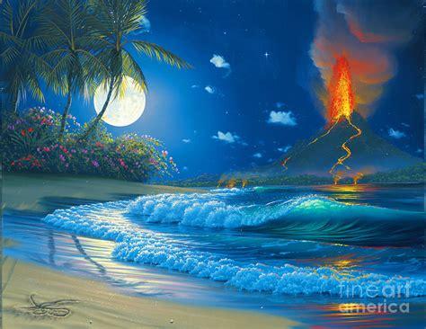 Hawaiian Shower Curtains Volcano Moon Painting By Al Hogue