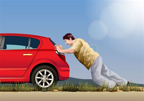 Is Pushing by Vector Pushing A Car Free Vector Stock