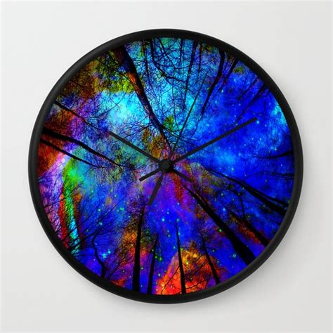 colorful wall clocks colorful forest wall clock by haroulita society6