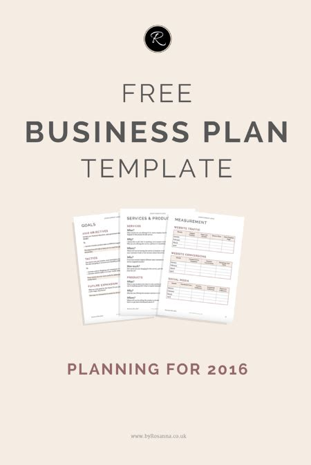 a business plan for 2016 byrosanna brand and website