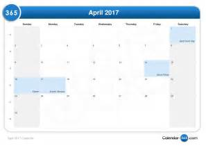 Calendar When Is Easter April 2017 Calendar