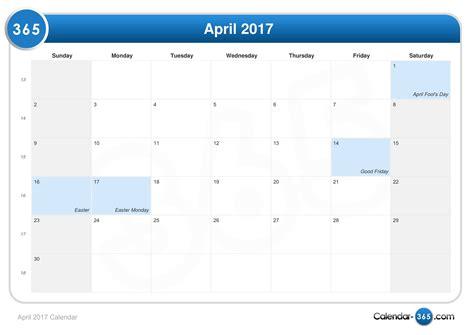 april 2017 calendar easter 2017 calendar with holidays