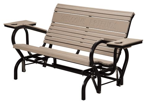 amish made poly and aluminum 4 ft patio glider bench