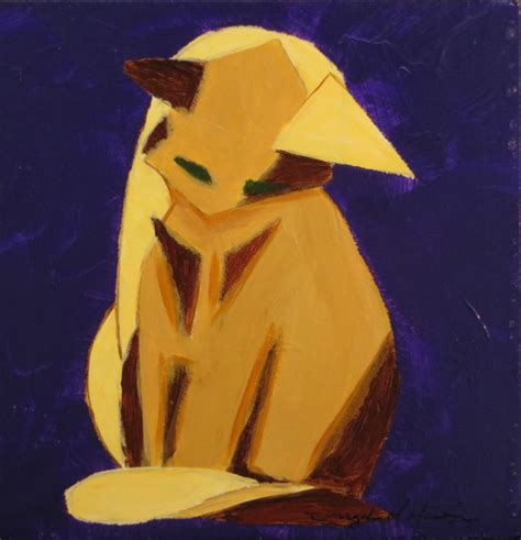 Cat Acrylic Maries zen cat in browns 3 acrylic painting