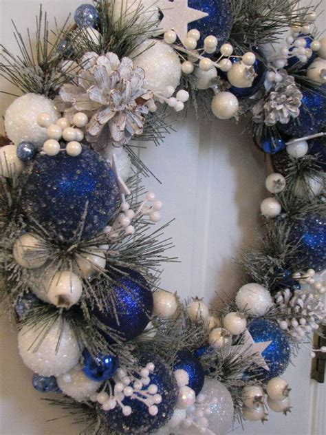 blue and white christmas wreath ornament by