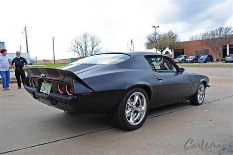 satin black 72 camaro z28 carbon fiber stripes car