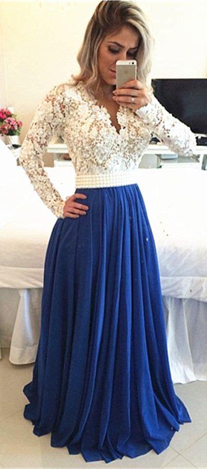 white lace top  royal blue chiffon bottom perfect long