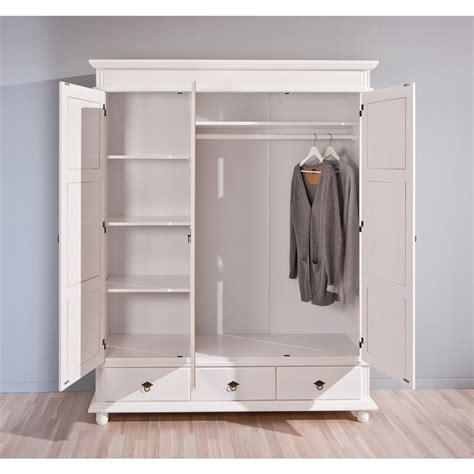 armadio in legno massello armadio guardaroba classico in legno massello bianco 3 ante