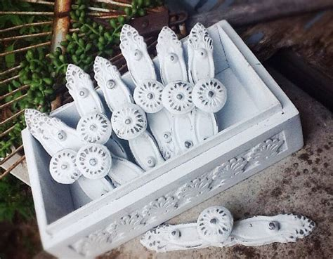 vintage shabby chic white cabinet hardware pulls by