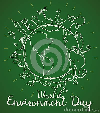 doodle flora fauna poster for world environment day with animals in doodle
