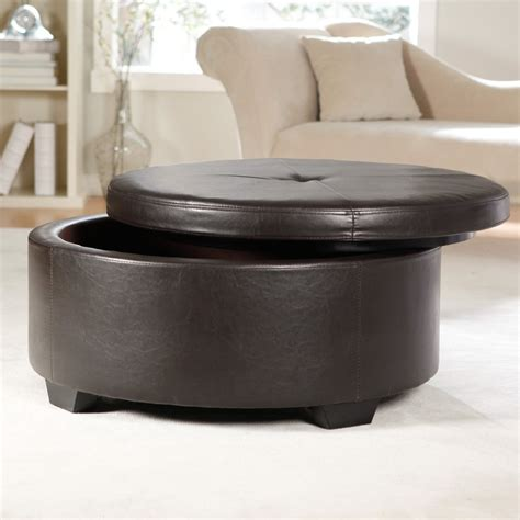 round leather ottoman coffee table with storage round coffee table stunning round leather coffee tables