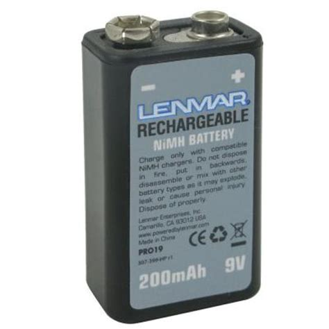 lenmar nickel metal hydride 200mah 9 volt battery pro19