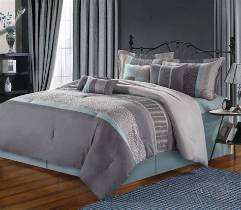 bedroom with gray bedding grey beige and aqua contemporary decorating chic home 8 piece euphoria embroidered