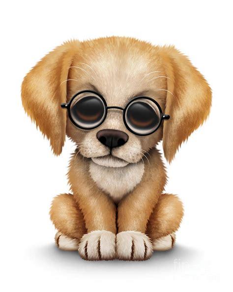 golden retriever wearing glasses golden retriever puppy wearing eye glasses digital by jeff bartels