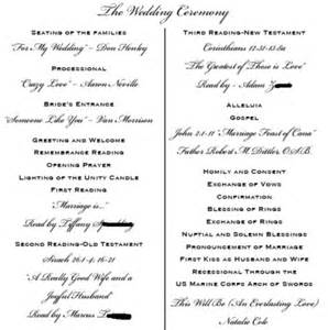 sle wedding programs outline smy ceremony programs planning project wedding forums