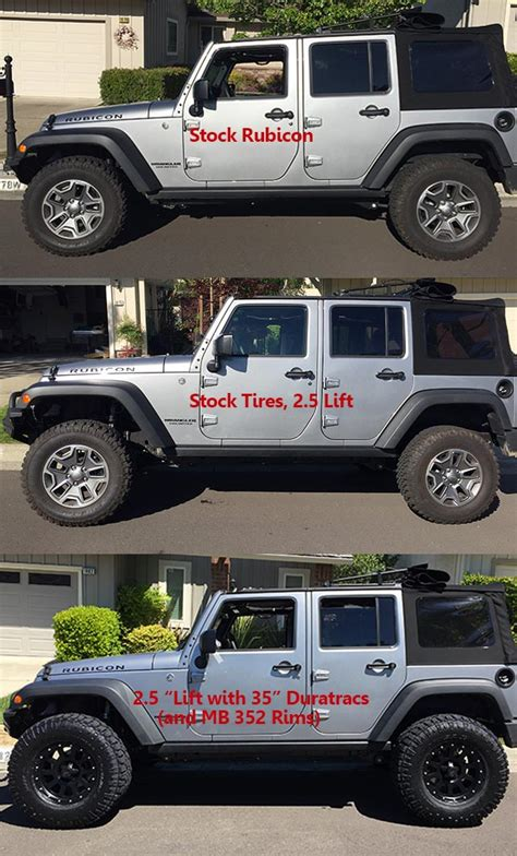 Jeep Lift Comparison Photo Series Stock Rubicon Then Lifted Then Lifted With