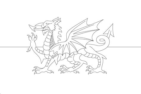 welsh dragon coloring page welsh dragon flag colouring pages