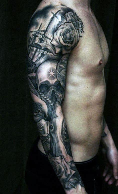 rose themed half sleeve 50 skull sleeve tattoos for men masculine design ideas