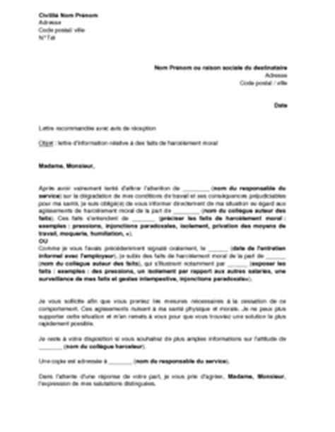 Exemple Lettre De Demission Suite Harcelement Moral modele lettre demission harcelement