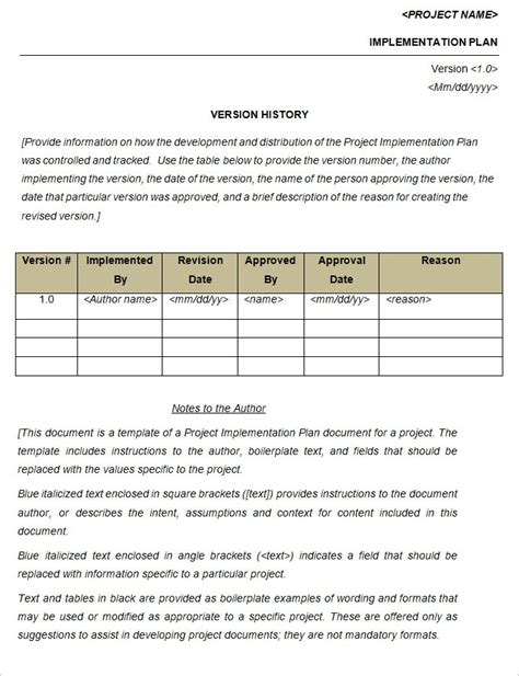 policy implementation plan template project implementation plan template 5 free word excel