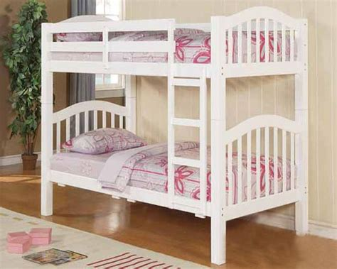 Acme Furniture Twin Over Twin Bunk Bed In White Ac02354 Pictures Of Bunk Beds For