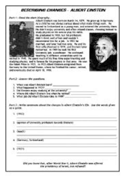 printable biography of albert einstein describing changes albert einstein past tense