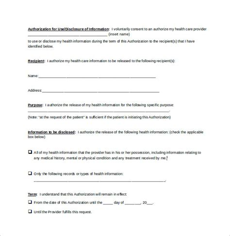 generic medical record release form 10 free sles