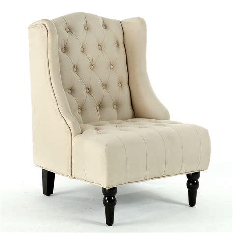 Beige Wingback Chair by New Modern Wingback Accent Chair Tufted Linen