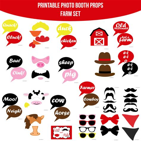 farm photo booth props diy instant download by instant download farm printable photo booth prop set diy